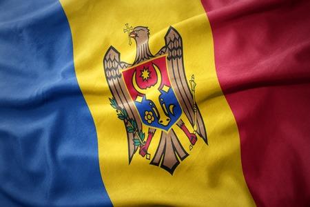 moldova: waving colorful national flag of moldova.