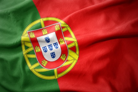 waving colorful national flag of portugal.