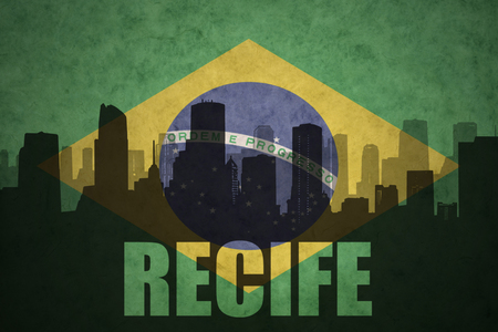 abstract silhouette of the city with text Recife at the vintage brazilian flag background