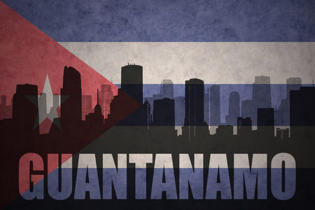 guantanamo: abstract silhouette of the city with text Guantanamo at the vintage cuban flag background Stock Photo