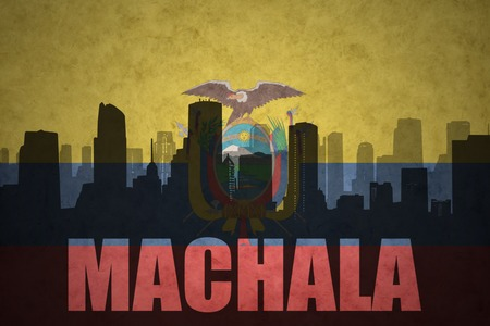 clash: abstract silhouette of the city with text Machala at the vintage ecuadorian flag background