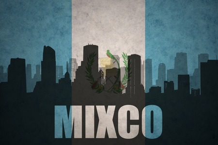 clash: abstract silhouette of the city with text Mixco at the vintage guatemalan flag background