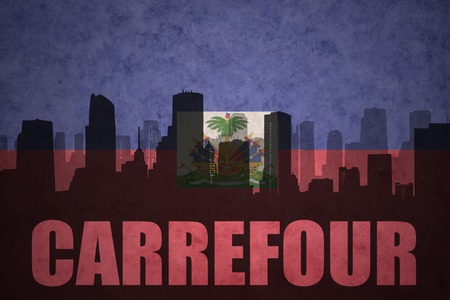 carrefour: abstract silhouette of the city with text Carrefour at the vintage haitian flag background