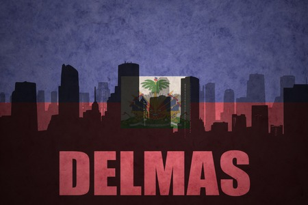 haitian: abstract silhouette of the city with text Delmas at the vintage haitian flag background