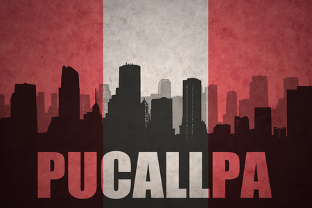 peruvian: abstract silhouette of the city with text Pucallpa at the vintage peruvian flag background