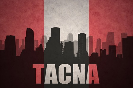 peruvian: abstract silhouette of the city with text Tacna at the vintage peruvian flag background