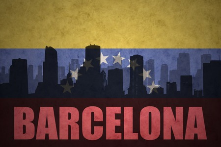 venezuelan flag: abstract silhouette of the city with text Barcelona at the vintage venezuelan flag background