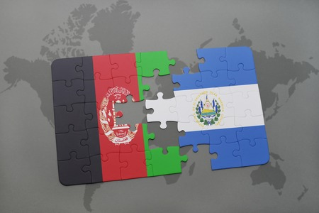 mapa de el salvador: puzzle with the national flag of afghanistan and el salvador on a world map background. 3D illustration