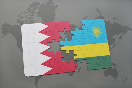 kigali: puzzle with the national flag of bahrain and rwanda on a world map background. 3D illustration