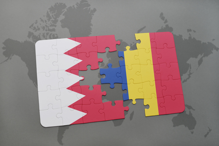 bucharest: puzzle with the national flag of bahrain and romania on a world map background. 3D illustration