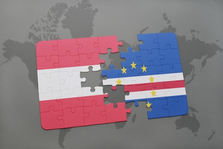praia: puzzle with the national flag of austria and cape verde on a world map background. 3D illustration