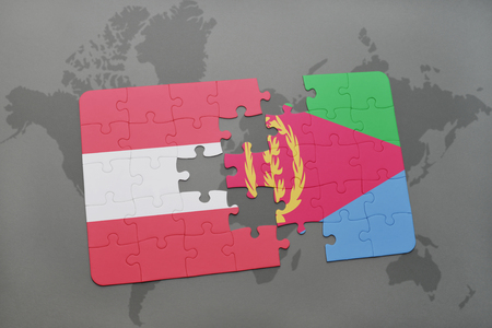 eritrea: puzzle with the national flag of austria and eritrea on a world map background. 3D illustration
