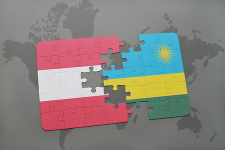 kigali: puzzle with the national flag of austria and rwanda on a world map background. 3D illustration
