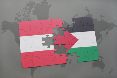 puzzle with the national flag of austria and palestine on a world map background. 3D illustration