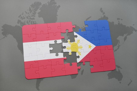 manila: puzzle with the national flag of austria and philippines on a world map background. 3D illustration