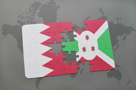 puzzle with the national flag of bahrain and burundi on a world map background. 3D illustration