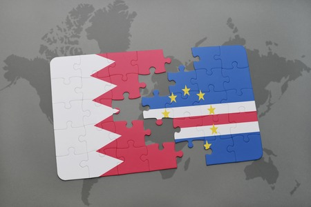 praia: puzzle with the national flag of bahrain and cape verde on a world map background. 3D illustration Stock Photo