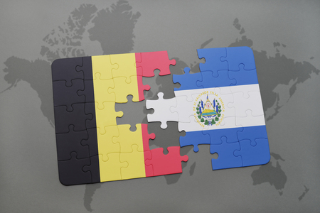 mapa de el salvador: puzzle with the national flag of belgium and el salvador on a world map background. 3D illustration