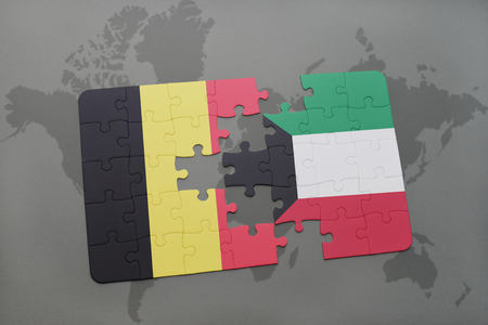 puzzle with the national flag of belgium and kuwait on a world map background. 3D illustration