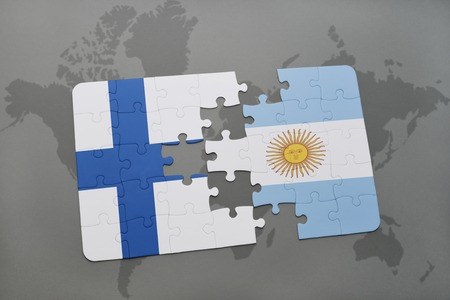 puzzle with the national flag of finland and argentina on a world map background. 3D illustration