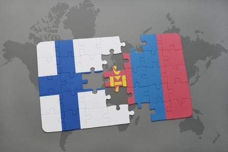 mongolia: puzzle with the national flag of finland and mongolia on a world map background. 3D illustration