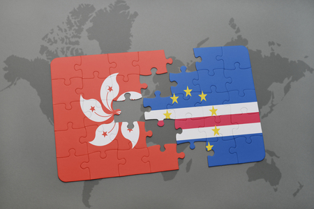 praia: puzzle with the national flag of hong kong and cape verde on a world map background. 3D illustration