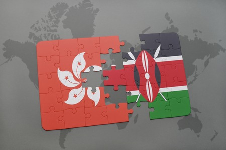 puzzle with the national flag of hong kong and kenya on a world map background. 3D illustration Stock Photo