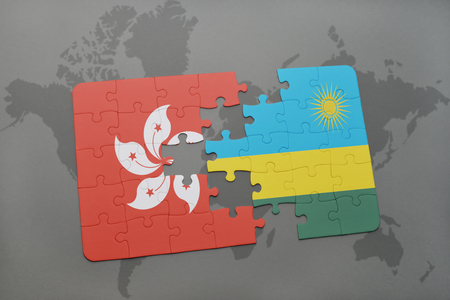 kigali: puzzle with the national flag of hong kong and rwanda on a world map background. 3D illustration
