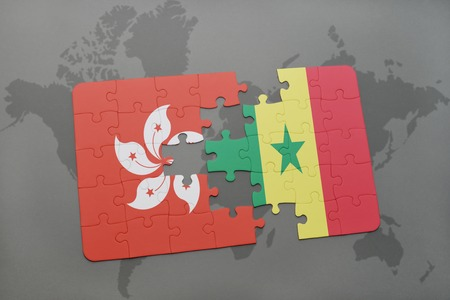 dakar: puzzle with the national flag of hong kong and senegal on a world map background. 3D illustration Stock Photo