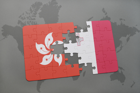 map malta: puzzle with the national flag of hong kong and malta on a world map background. 3D illustration