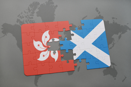 puzzle with the national flag of hong kong and scotland on a world map background. 3D illustration