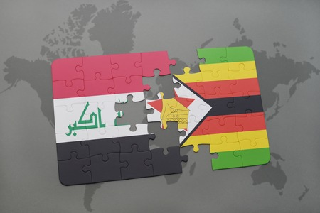 iraq conflict: puzzle with the national flag of iraq and zimbabwe on a world map background. 3D illustration