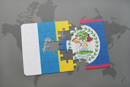 canary islands: puzzle with the national flag of canary islands and belize on a world map background. 3D illustration