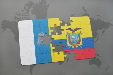 canary islands: puzzle with the national flag of canary islands and ecuador on a world map background. 3D illustration Stock Photo