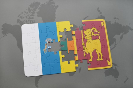 ceylon: puzzle with the national flag of canary islands and sri lanka on a world map background. 3D illustration