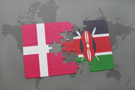 nairobi: puzzle with the national flag of denmark and kenya on a world map background. 3D illustration Stock Photo
