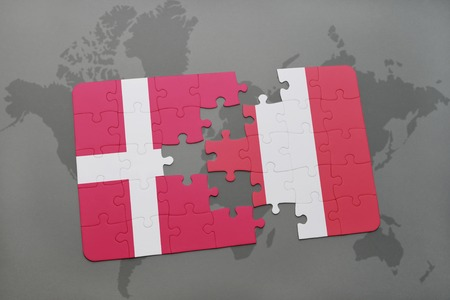 puzzle with the national flag of denmark and peru on a world map background. 3D illustration Stock Photo