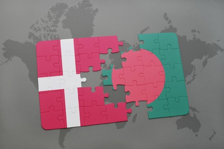 danish flag: puzzle with the national flag of denmark and bangladesh on a world map background. 3D illustration