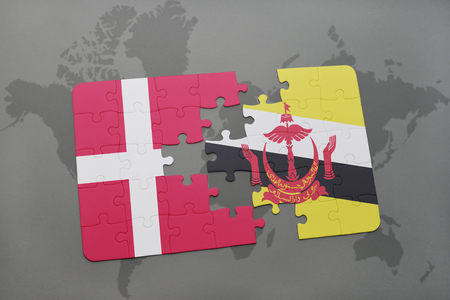 danish flag: puzzle with the national flag of denmark and brunei on a world map background. 3D illustration