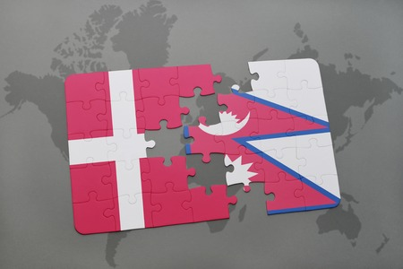 danish flag: puzzle with the national flag of denmark and nepal on a world map background. 3D illustration