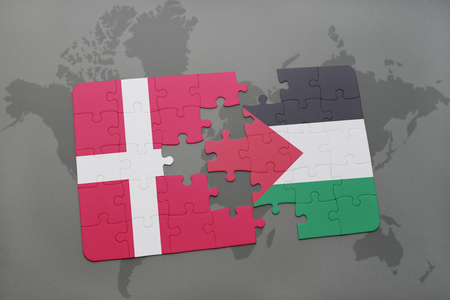 puzzle with the national flag of denmark and palestine on a world map background. 3D illustration