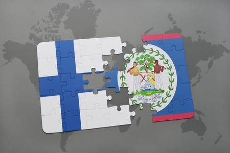belize: puzzle with the national flag of finland and belize on a world map background. 3D illustration Stock Photo