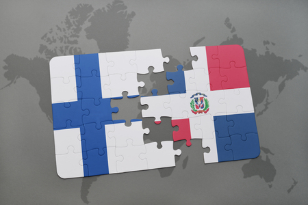 puzzle with the national flag of finland and dominican republic on a world map background. 3D illustration