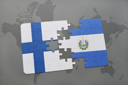 puzzle with the national flag of finland and el salvador on a world map background. 3D illustration