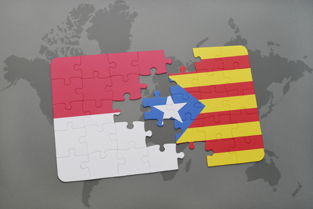 catalonia: puzzle with the national flag of indonesia and catalonia on a world map background. 3D illustration
