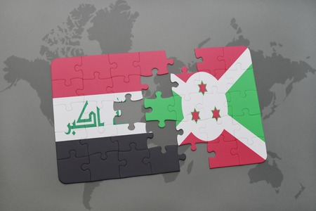 puzzle with the national flag of iraq and burundi on a world map background. 3D illustration