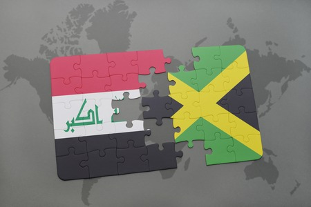 puzzle with the national flag of iraq and jamaica on a world map background. 3D illustration Stock Photo