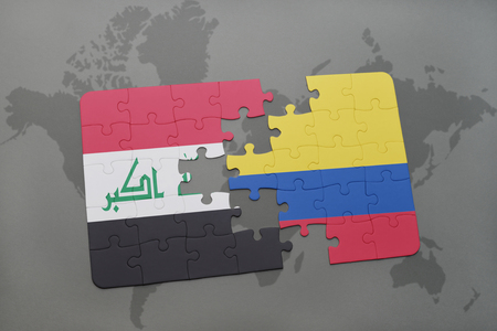 iraq conflict: puzzle with the national flag of iraq and colombia on a world map background. 3D illustration