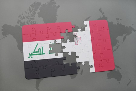 puzzle with the national flag of iraq and malta on a world map background. 3D illustration