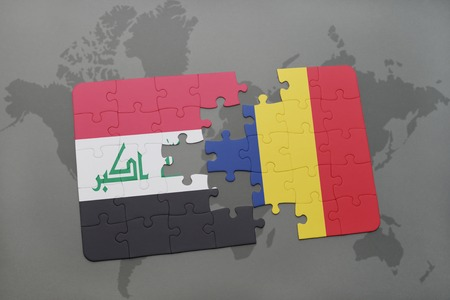 middle east conflict: puzzle with the national flag of iraq and chad on a world map background. 3D illustration